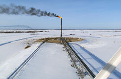 Pochodnia system na polu naftowym fotografia royalty free
