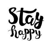 Pochoir isolé noir et blanc d'affiche de lettrage de main Soyez heureux Vecteur Photographie stock libre de droits