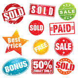 Pochoirs de vente Image stock