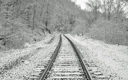 Pociągów ślada w śniegu zdjęcia stock