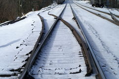 Pociągów ślada w śniegu Fotografia Stock