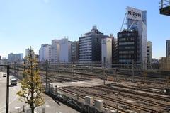 Pociągów ślada w Shinjuku Japonia Fotografia Royalty Free