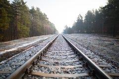 Pociągów poręcze przy zimą Obrazy Royalty Free
