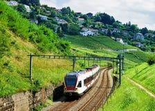 Pociąg przy linią kolejową w Lavaux winnicy tarasach Zdjęcie Stock
