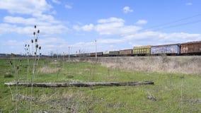 Pociąg towarowy, niosący drymby dla gazociąg i innych frachtowych samochodów Zdjęcia Royalty Free
