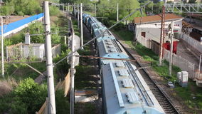Pociąg towarowy rusza się długiego sposób zdjęcie wideo