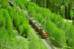 Pociąg towarowy rusza się przez Kanadyjskich Skalistych gór zdjęcie royalty free