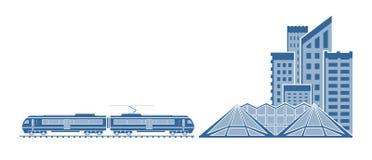 Pociąg w mieście ilustracji