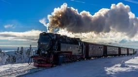 Pociąg w pięknym zima krajobrazie Zdjęcie Royalty Free