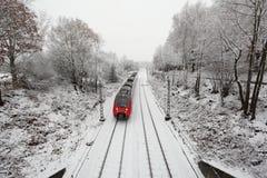 Pociąg w zima Zdjęcie Stock