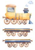 Pociąg z furgonami i dym z akwarelą royalty ilustracja