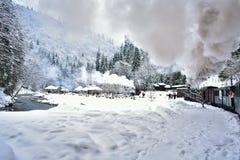 Pociąg zima raj zdjęcie royalty free