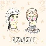 Pociągany ręcznie ładne rosyjskie dziewczyn twarze Rosjanina stylu projekt Kultura, sposób życia, tradycje sztuki światła wektoru royalty ilustracja