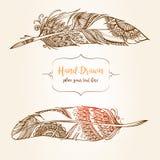 Pociągany ręcznie abstrakta piórko z etnicznymi ornamentami doodle wzór Fotografia Royalty Free