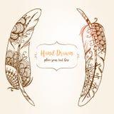 Pociągany ręcznie abstrakta piórko z etnicznymi ornamentami doodle wzór Obraz Royalty Free