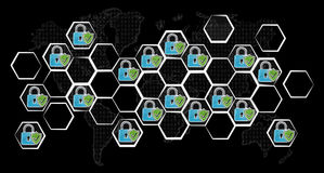 Pociągany ręcznie antivirus systemu nakreślenie Obraz Stock