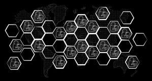 Pociągany ręcznie antivirus systemu nakreślenie Obrazy Royalty Free