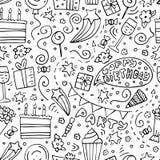 Pociągany ręcznie bezszwowy wzór z Urodzinowymi doodles monochrom ilustracji