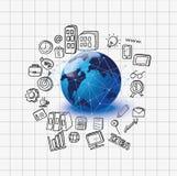 Pociągany ręcznie biznes, globalny biznes, nternet pojęcie Obraz Royalty Free