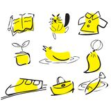 Pociągany ręcznie doodle set, Wektorowa ilustracja royalty ilustracja