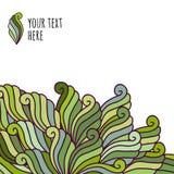 Pociągany ręcznie fala wzór, abstrakt zieleni liście Kwiecisty wektorowy b Obraz Royalty Free