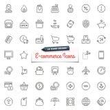 pociągany ręcznie handel elektroniczny ikony ilustracja wektor