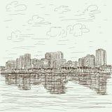 Pociągany ręcznie pejzaż miejski ilustracja wektor