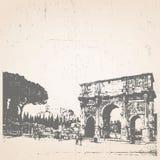 Pociągany ręcznie ilustracja Rzym arch romana Włochy Ilustracji