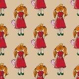pociągany ręcznie ilustracje Karta z princess Miedzianowłosa dziewczyna z książką Dlaczego muszę studiować? Kocham modę! Bezszwow Obrazy Royalty Free