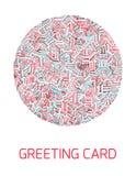 Pociągany ręcznie jaskrawa karta Zdjęcie Royalty Free