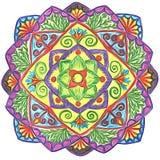 Pociągany ręcznie kółkowy ornament - mandala z kwiecistymi elementami ilustracja wektor