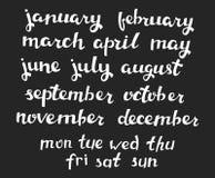 Pociągany ręcznie kalendarza set Obrazy Stock