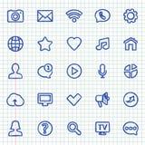 Pociągany ręcznie kontaktowe i komunikacyjne ikony na notatniku ciąć na arkusze Obraz Royalty Free