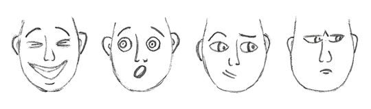 Pociągany ręcznie kreskówek twarze Zdjęcia Stock