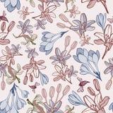 Pociągany ręcznie lato kwiatu bezszwowy wzór Zdjęcie Royalty Free