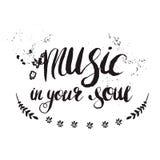 Pociągany ręcznie literowanie & x22; muzyka w twój soul& x22; Zdjęcia Stock