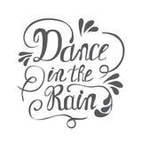 Pociągany ręcznie literowanie taniec w deszczu ilustracji