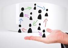Pociągany ręcznie ludzie profilowych ikon z otwartą ręką Fotografia Royalty Free