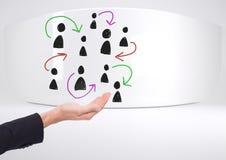 Pociągany ręcznie ludzie profilowych ikon z otwartą ręką Obrazy Stock