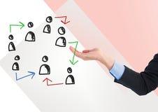 Pociągany ręcznie ludzie profilowych ikon z otwartą ręką Zdjęcie Stock