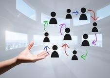 Pociągany ręcznie ludzie profilowych ikon z otwartą ręką Zdjęcie Royalty Free