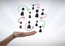 Pociągany ręcznie ludzie profilowych ikon z otwartą ręką Fotografia Stock