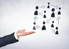 Pociągany ręcznie ludzie profilowych ikon z otwartą ręką Obraz Stock