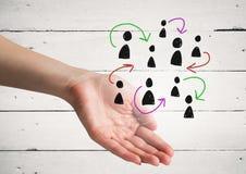 Pociągany ręcznie ludzie profilowych ikon z otwartą ręką Obrazy Royalty Free
