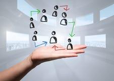 Pociągany ręcznie ludzie profilowych ikon z otwartą ręką Zdjęcia Royalty Free
