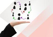 Pociągany ręcznie ludzie profilowych ikon z otwartą ręką Zdjęcia Stock