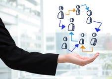 Pociągany ręcznie ludzie profilowych ikon z otwartą ręką Obraz Royalty Free