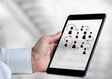 Pociągany ręcznie ludzie profilowych ikon z ręki mienia pastylką Obrazy Royalty Free