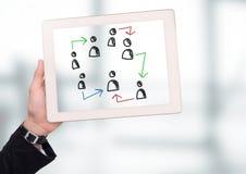 Pociągany ręcznie ludzie profilowych ikon z ręki mienia pastylką Zdjęcie Royalty Free
