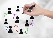 Pociągany ręcznie ludzie profilowych ikon z ręki writing Obraz Stock